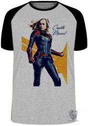 Camiseta Raglan Capitã Marvel Carol Danvers