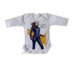 Roupa Bebê manga longa Capitã Marvel Carol Danvers