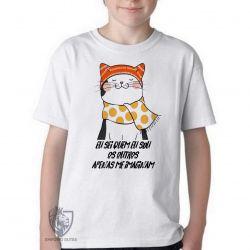 Camiseta Infantil Gato eu sei quem eu sou