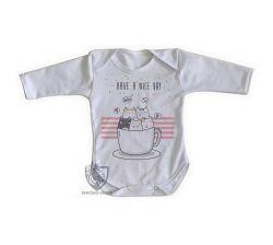 Roupa Bebê manga longa Gatinhos xícara