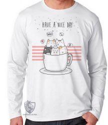 Camiseta Manga Longa Gatinhos xícara