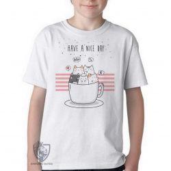 Camiseta Infantil Gatinhos xícara