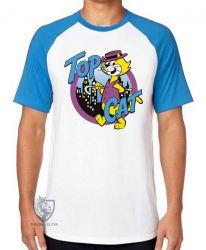 Camiseta Raglan Gato Manda Chuva Top Cat