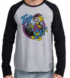 Camiseta Manga Longa Gato Manda Chuva Top Cat