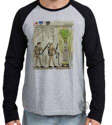 Camiseta Manga Longa Hieróglifos Caça Fantasmas
