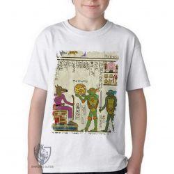 Camiseta Infantil Hieróglifos Tartarugas Ninjas