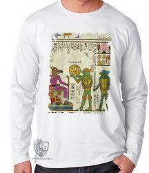Camiseta Manga Longa Hieróglifos Tartarugas Ninjas