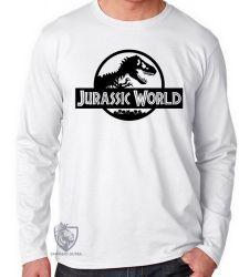Camiseta Manga Longa Jurassic Park logo