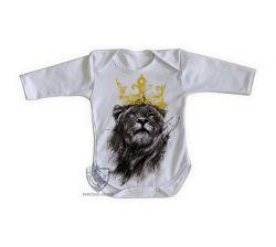 Roupa Bebê manga longa Leão O Rei