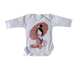 Roupa Bebê manga longa Mulan sombrinha