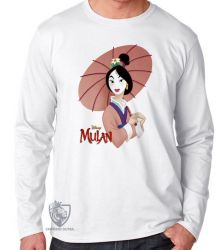 Camiseta Manga Longa Mulan sombrinha