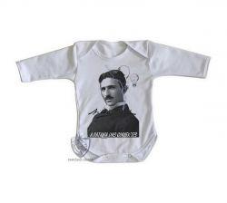Roupa Bebê manga longa Nikola Tesla Batalha das Correntes