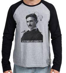 Camiseta Manga Longa Nikola Tesla Batalha das Correntes