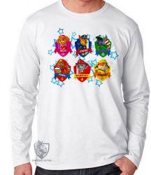 Camiseta Manga Longa Patrulha Canina nomes