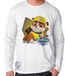 Camiseta Manga Longa Patrulha Canina Rubble