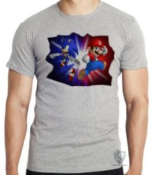 Camiseta Infantil  Sonic Mário
