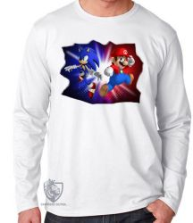 Camiseta Manga Longa Sonic Mário