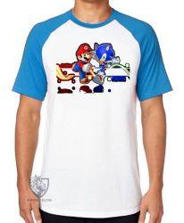 Camiseta Raglan Sonic Mário II