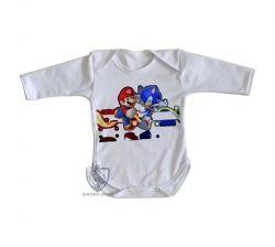 Roupa Bebê manga longa Sonic Mário II