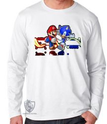 Camiseta Manga Longa Sonic Mário II