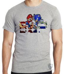Camiseta Infantil  Sonic Mário  II