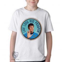Camiseta Infantil Spock vida longa e próspera