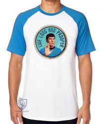 Camiseta Raglan Spock vida longa e próspera
