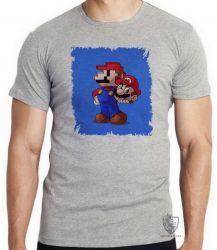 Camiseta Infantil Super Mário pixel