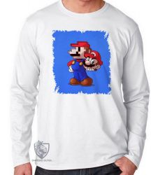 Camiseta Manga Longa Super Mário pixel