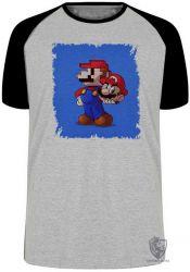 Camiseta Raglan Super Mário pixel