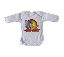 Roupa Bebê manga longa Tom & Jerry amarelo