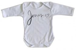 Roupa Bebê manga longa Jesus coração