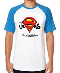 Camiseta Raglan Jesus verdadeiro Herói