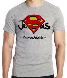 Camiseta Infantil Jesus verdadeiro Herói