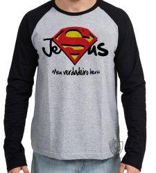 Camiseta Manga Longa Jesus verdadeiro Herói