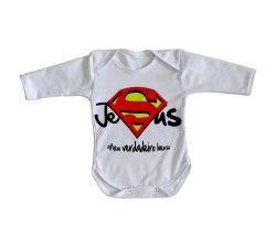 Roupa Bebê manga longa Jesus verdadeiro Herói
