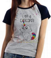 Blusa Feminina  I am a caticorn gato unicórnio