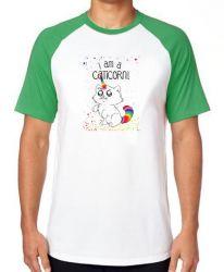 Camiseta Raglan I am a caticorn gato unicórnio