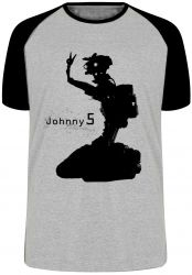 Camiseta Raglan Johnny 5 robô