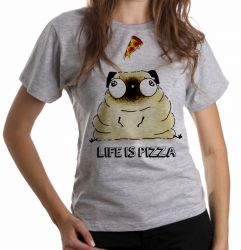 Blusa Feminina Life is pizza pug