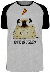 Camiseta Raglan Life is pizza pug