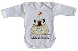 Roupa Bebê manga longa Life is pizza pug