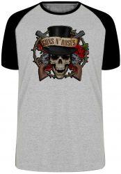 Camiseta Raglan Guns in Roses Caveira