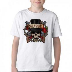 Camiseta Infantil Guns in Roses Caveira