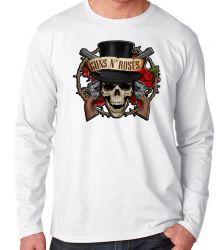 Camiseta Manga Longa Guns in Roses Caveira