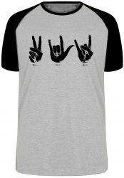 Camiseta Raglan Paz love rock