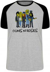 Camiseta Raglan Simpsons Guns in Roses