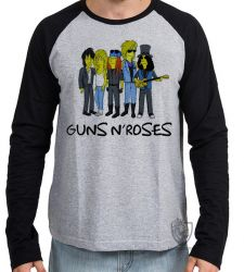 Camiseta Manga Longa Simpsons Guns in Roses