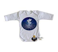 Roupa Bebê manga longa Pomba da paz