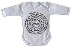 Roupa Bebê manga longa Pai Nosso Oração